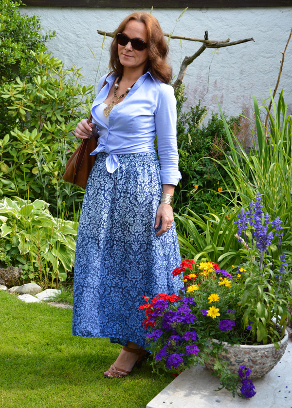 Weekend In A Blue Floral Maxi Skirt Lady Of Style