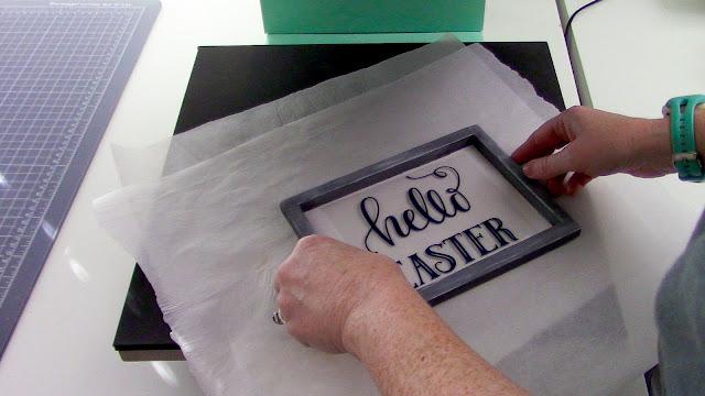 reverse canvas, heat transfer vinyl, htv, canvas sign, glitter htv