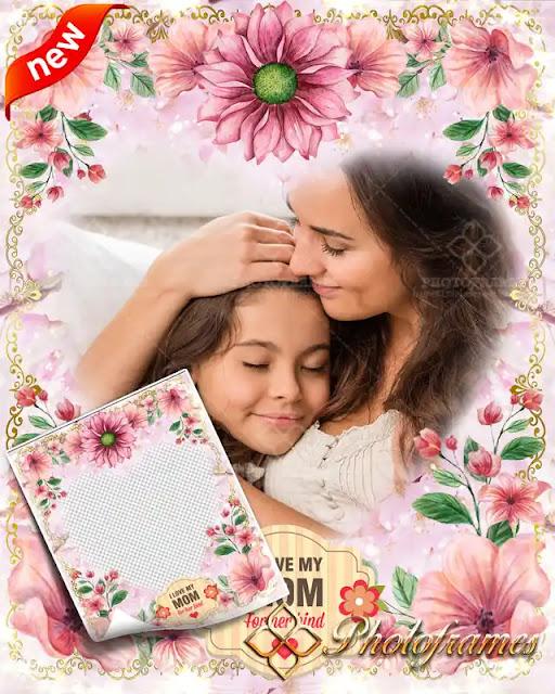 Marco decorado con flores para el día de la madre