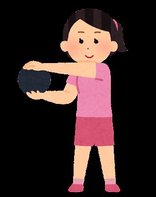 メディシンボールを使う人のイラスト(女性)