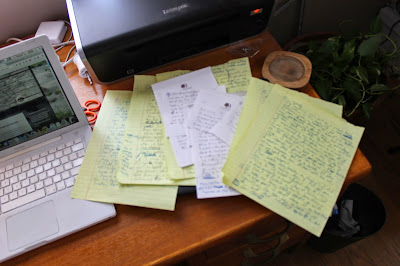 Handwritten notes of this blog post