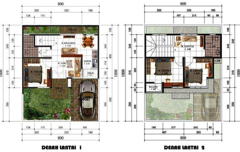 Denah Rumah Minimalis 2 Lantai 3 Kamar Tidur Dan 2 Wc