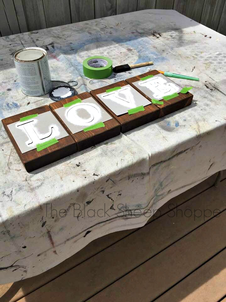 Leave stencils in place until the paint is dry