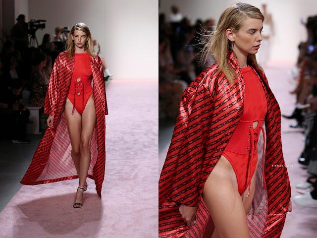 model walking the runway for nyfw gcds ss 18 show