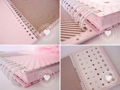 caderno personalizado rosa com marrom