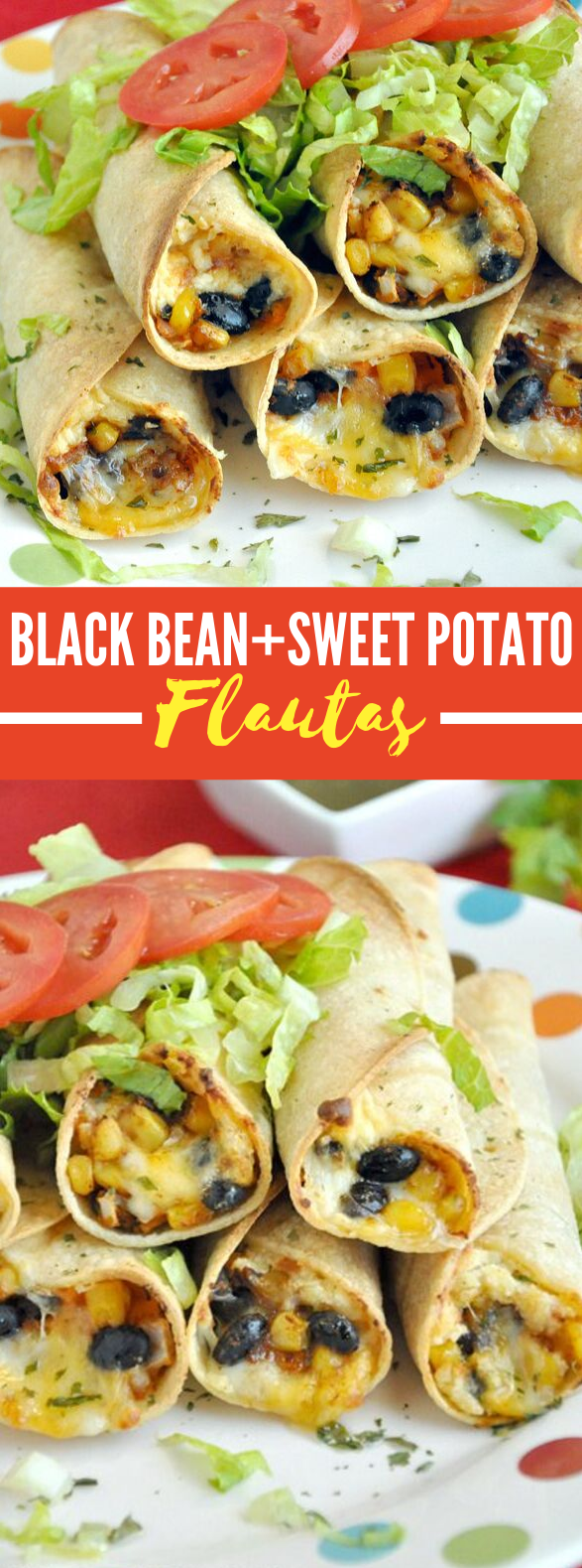 BAKED BLACK BEAN AND SWEET POTATO FLAUTAS #vegetarian #appetizers