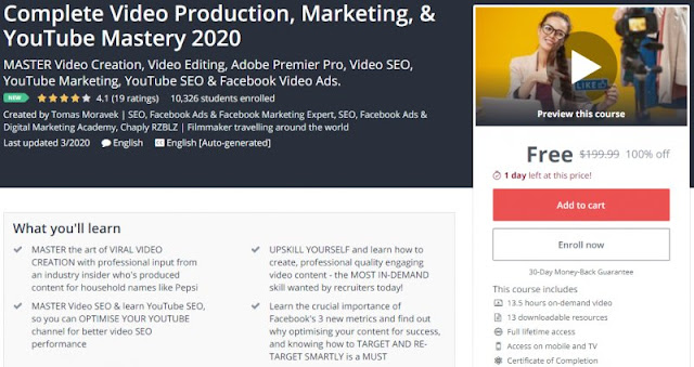 [100% Off] Complete Video Production, Marketing, & YouTube Mastery 2020| Worth 199,99$