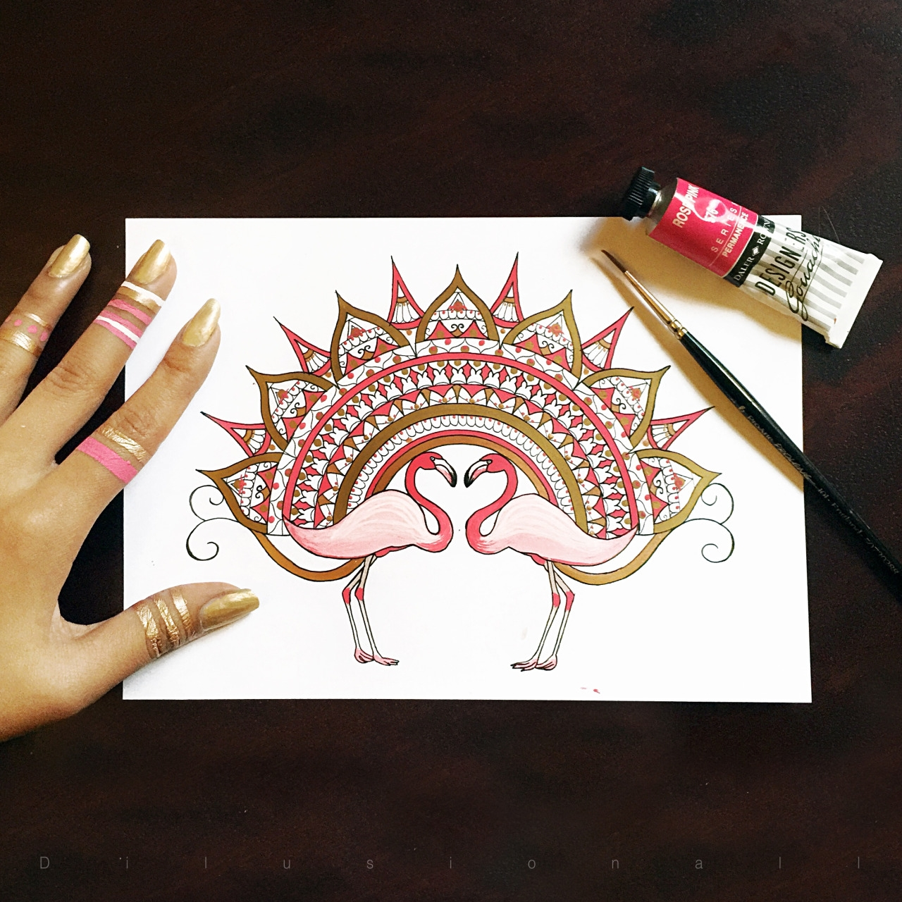15-Pink-and-Gold-Dilrani-Kauris-Symmetry-and-Style-in-Mandala-and-Mehndi-Drawings-www-designstack-co