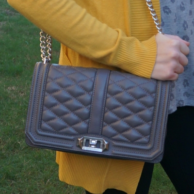 mustard cardigan with Rebecca Minkoff Love cross body bag in grey | away from the blue