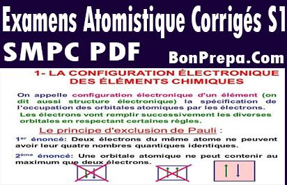Examens Atomistique Corrigés S1 SMPC En PDF