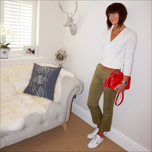 Marks and spencer cashmere ballet wrap cardigan, uterque mock croc cross body bag, woven belt, j crew sammie cropped kick flare chinos, golden goose superstar low top leather trainers