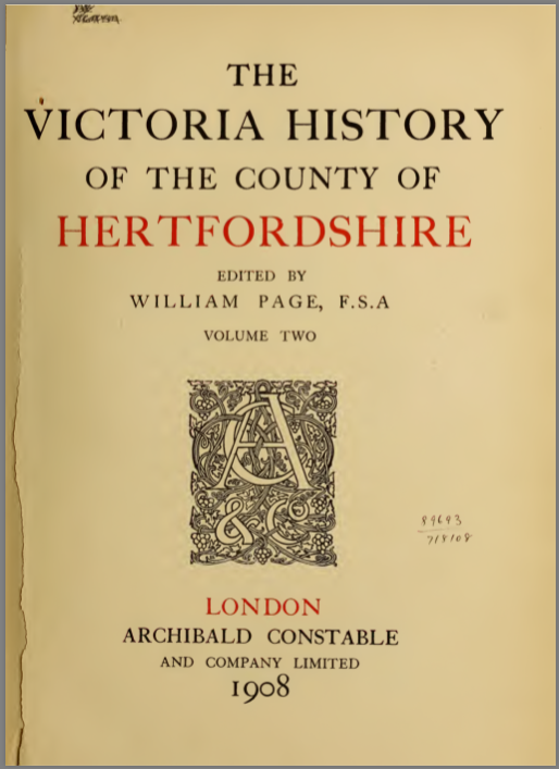 Screen grab of the cover of The Victoria History Of The County Of Hertfordshire Vol 2