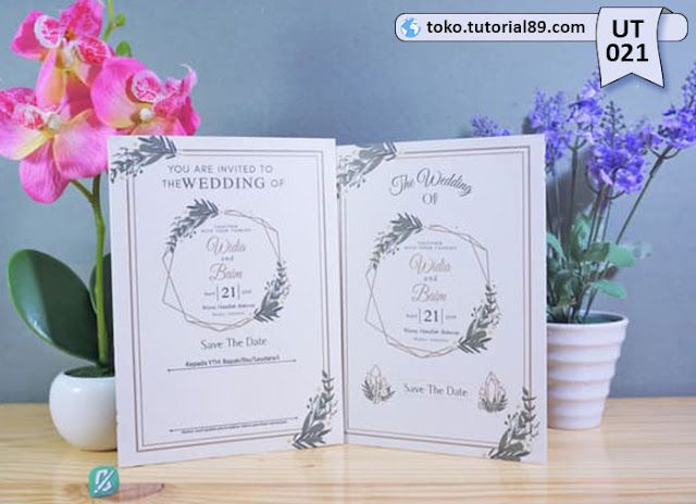 Undangan pernikahan UT021 - Lipat 2 dengan Amplop +free kartu ucapan terima kasih
