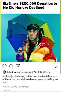 Tekashi 69's Reacted As Foundation Rejected His $200k Donation To Feed Hungry Kids