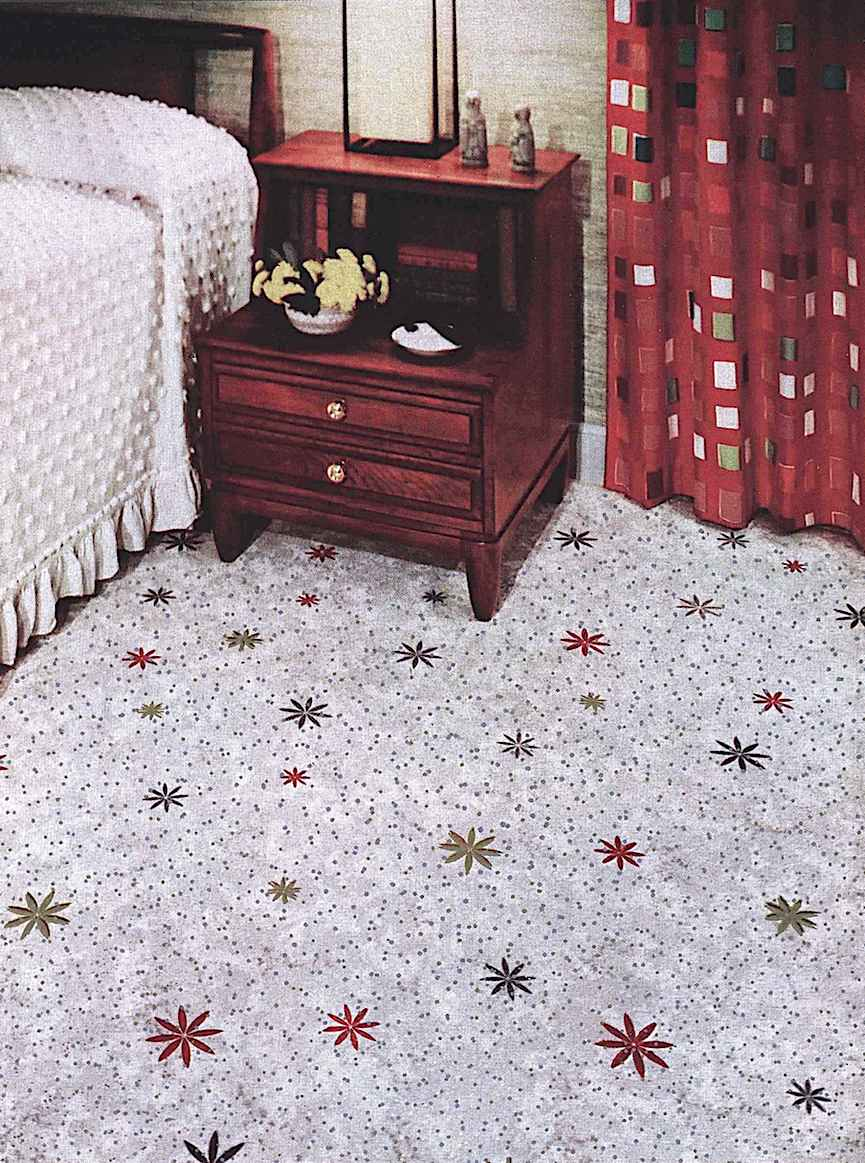 a color photograph of 1960 starburst linoleum for a bedroom floor
