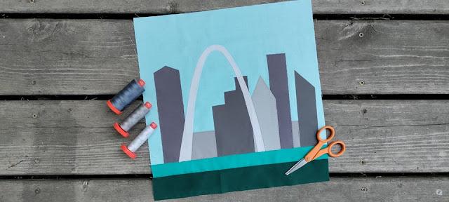 City skyline quilt block