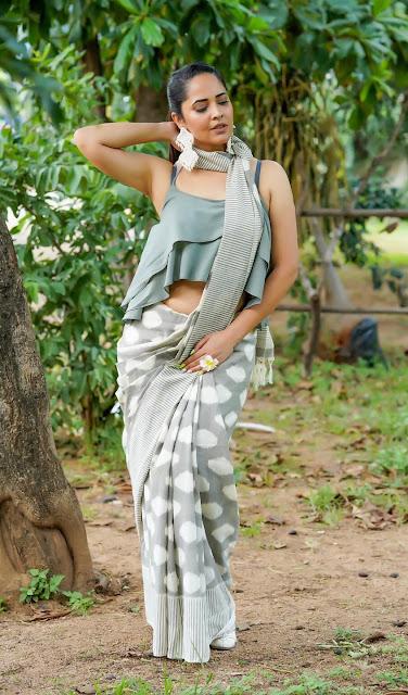 Actress Anasuya Bharadwaj Navel Show Latest Pics in Sexy Dress Navel Queens