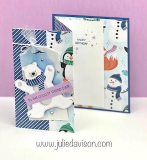 Stampin' Up! Penguin Playmates Tag Card + Spritzed Alcohol on Vellum Technique & VIDEO ~ www.juliedavison.com #stampinup