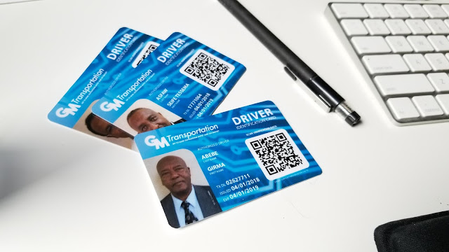Chauffeur Driver Employee Identification Card QR Code used to verify driver safety.  Graphic design by Oevae Marketing Consultants