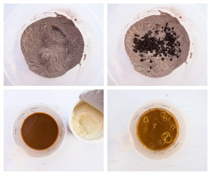 Making vegan chocolate cake - step 3 - chocolate chips added to dry mix, coffee & yoghurt added to milk