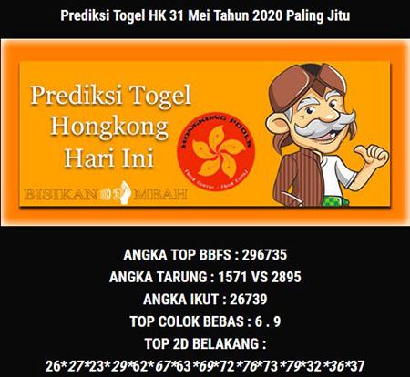 Prediksi HK Malam Ini 31 Mei 2020 - Bisikan Mbah