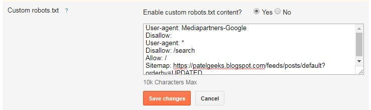 Blogger Blog Me Custom Robots.txt Kaise Add Kare