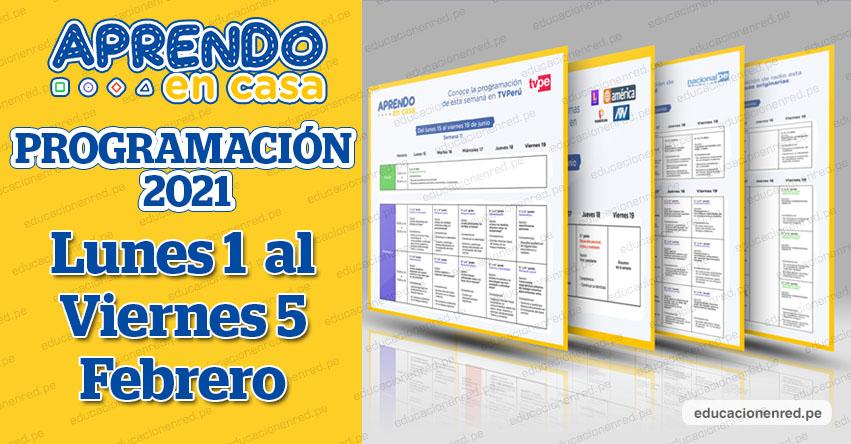 APRENDO EN CASA 2021: Programación General «Modo Vacaciones» del Lunes 1 al Viernes 5 de Febrero - MINEDU - TV Perú y Radio (ACTUALIZADO SEMANA 2) www.aprendoencasa.pe