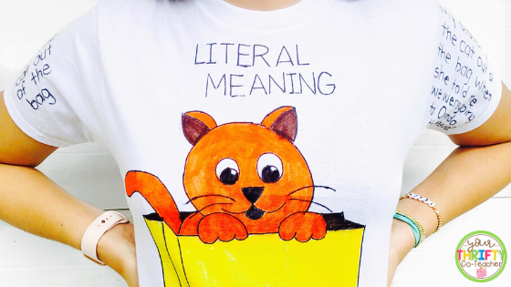 Exposing students to a variety of idiom activities can help them learn their meanings and help them understand how to use them correctly. This idiom t-shirt project is a fun way to have upper elementary students work with idioms and allows for some really great follow up activities.