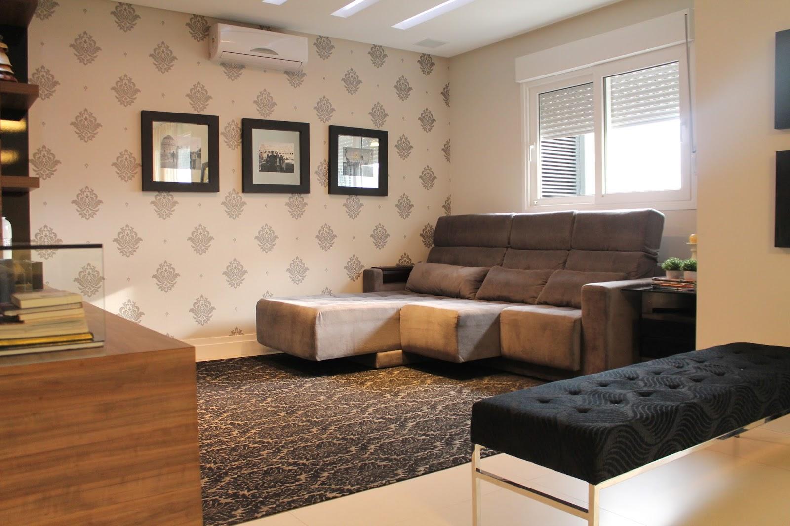 Construindo minha casa clean 13 salas modernas com for Sala de estar com papel de parede 3d