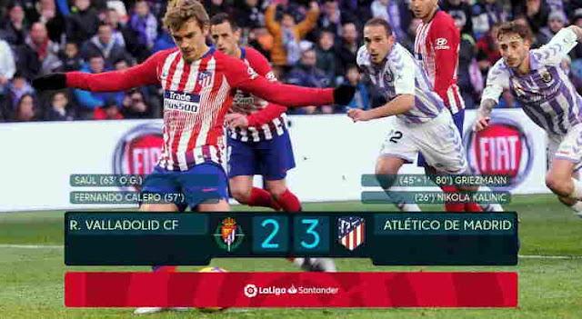 Hasil Real Valladolid vs Atletico Madrid 15 Desember 2018