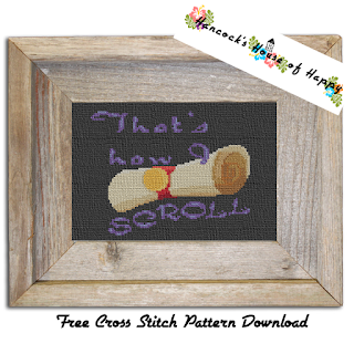 magic scroll cross stitch pattern free to download, magic cross stitch pattern, scroll cross stitch pattern