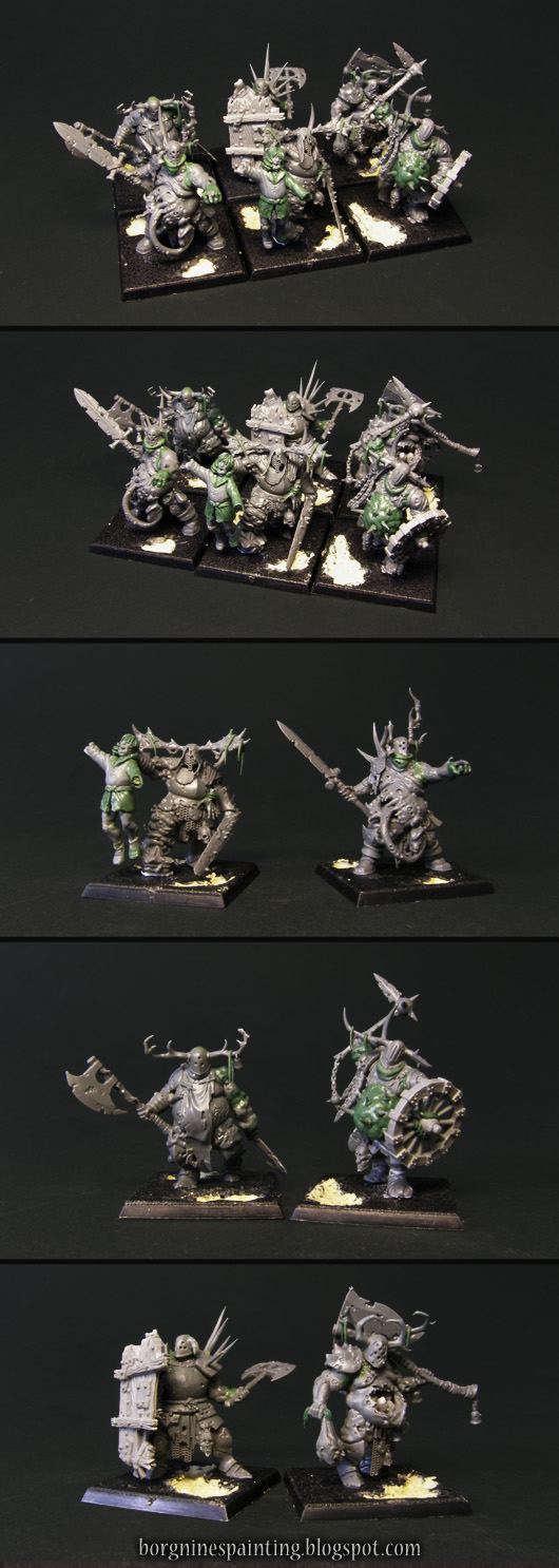 Unit of 6 unpainted, converted Putrid Blightkings miniatures visible first as the whole group and then separate to show the details.