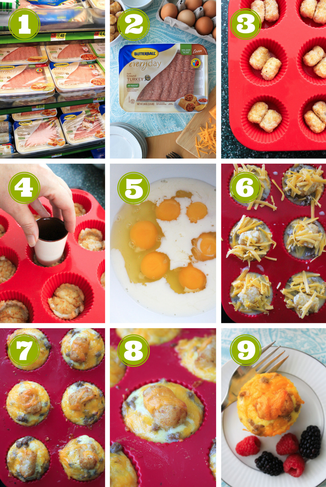 Cheesy Sausage and Tater Tot Breakfast Muffins combine maple turkey sausage, tater tots, eggs, and cheddar cheese in an easy to make muffin cup that can be made ahead and reheated on busy mornings! #ad #BackToButterball