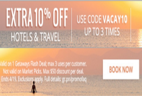 Groupon Extra 10% Off Hotels & Travel Promo Code