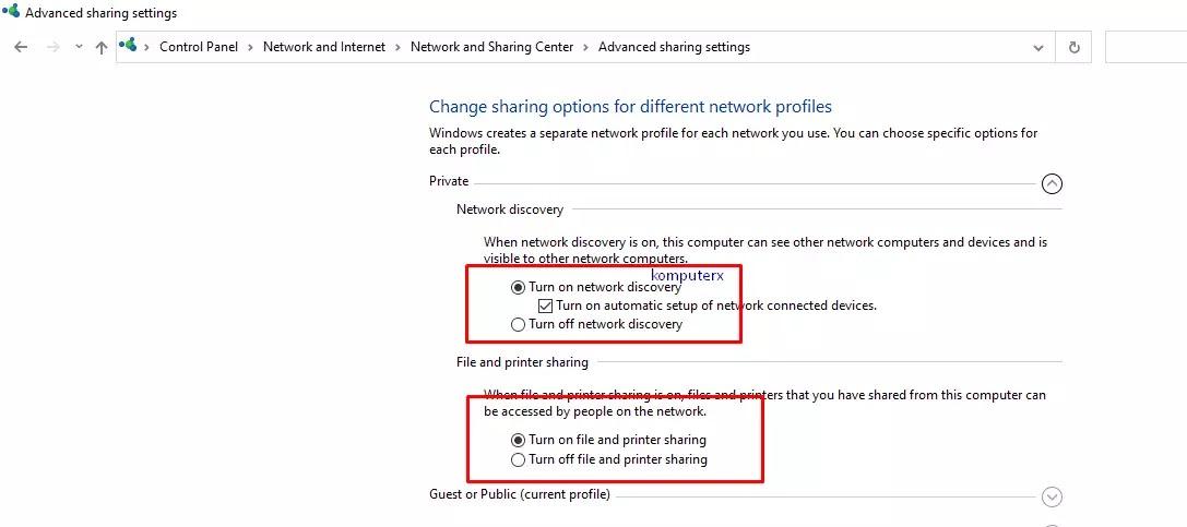 menu advanced sharing settings windows 10