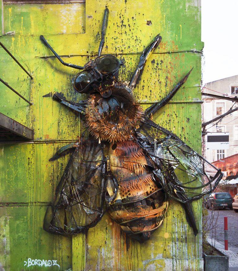 Street Artist Transforms Ordinary Junk Into Animals To Remind About Pollution - Bees