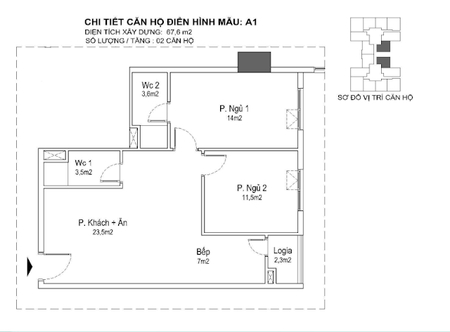 căn hộ A1 67m, tòa Park 1 2 3 Eurowindown Đông Trù