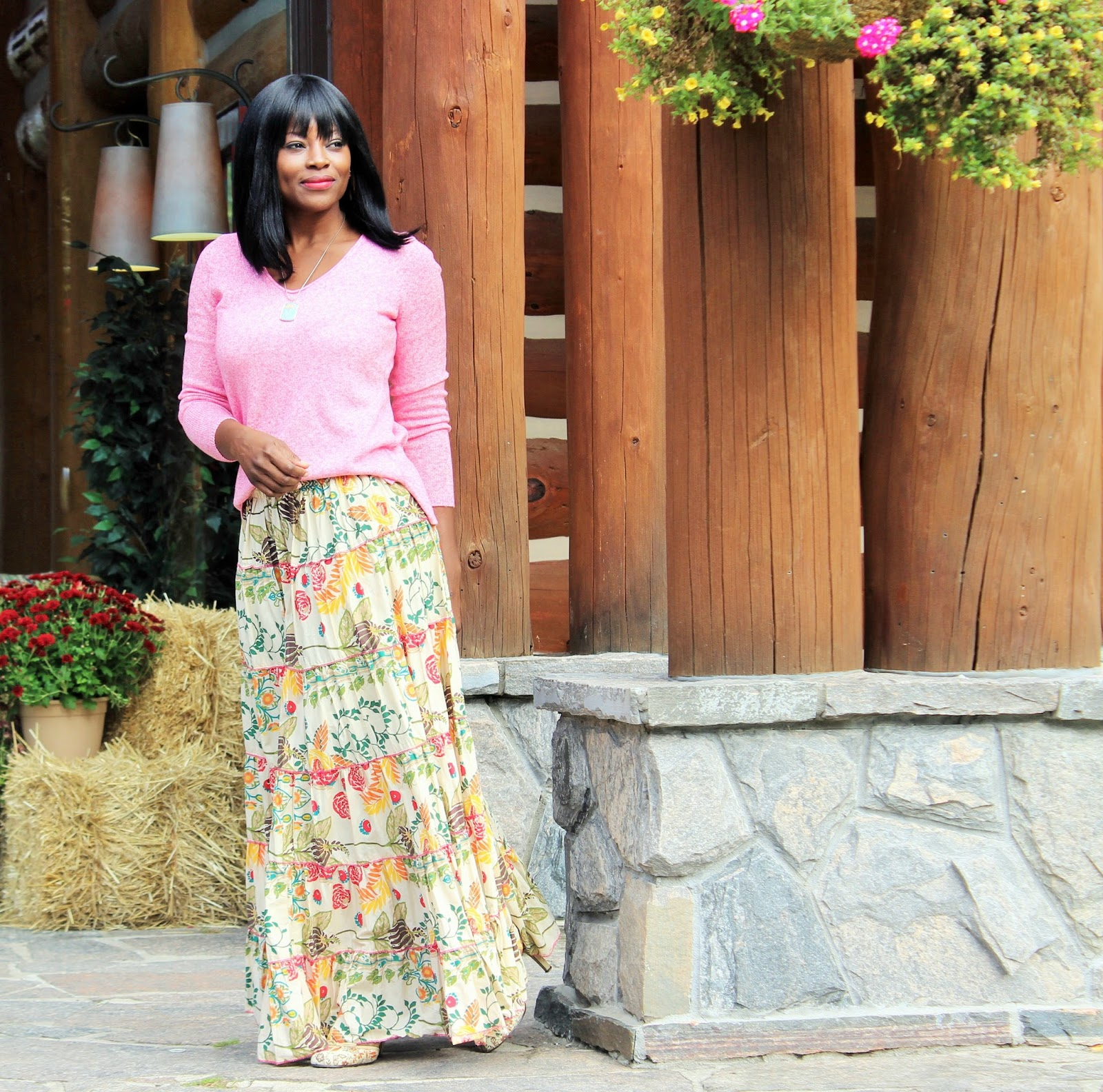 Old Navy Sweater + Printed Maxi Skirt