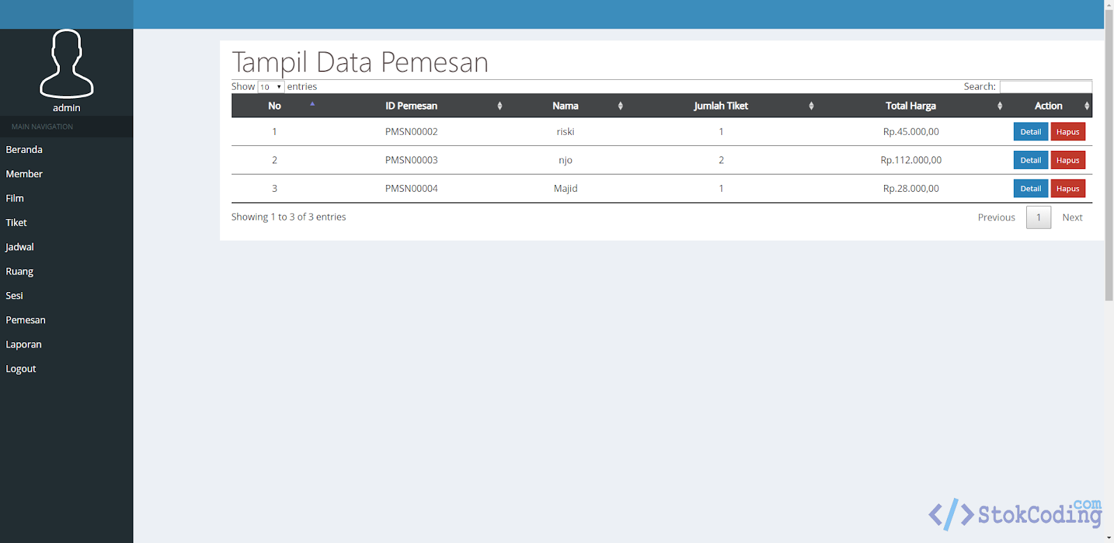 Aplikasi Pemesanan Tiket Bioskop Online (PHP)