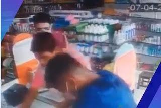 Bandidos usando máscara descartável assaltam farmácia e levam álcool em gel em Campina Grande