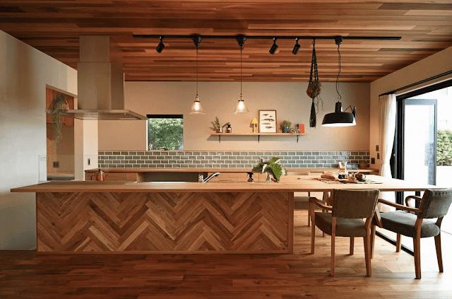Inspirasi Ide Desain Dapur Minimalis Asia dengan kayu parket