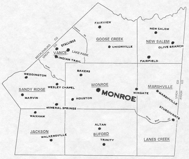 Image result for union county, North carolina townships
