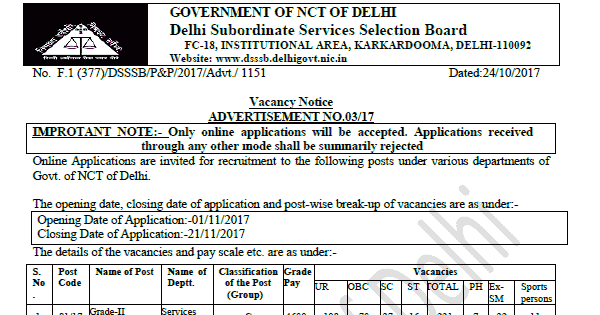 DSSSB DASS Grade-II Recruitment 2017 Apply Various Posts