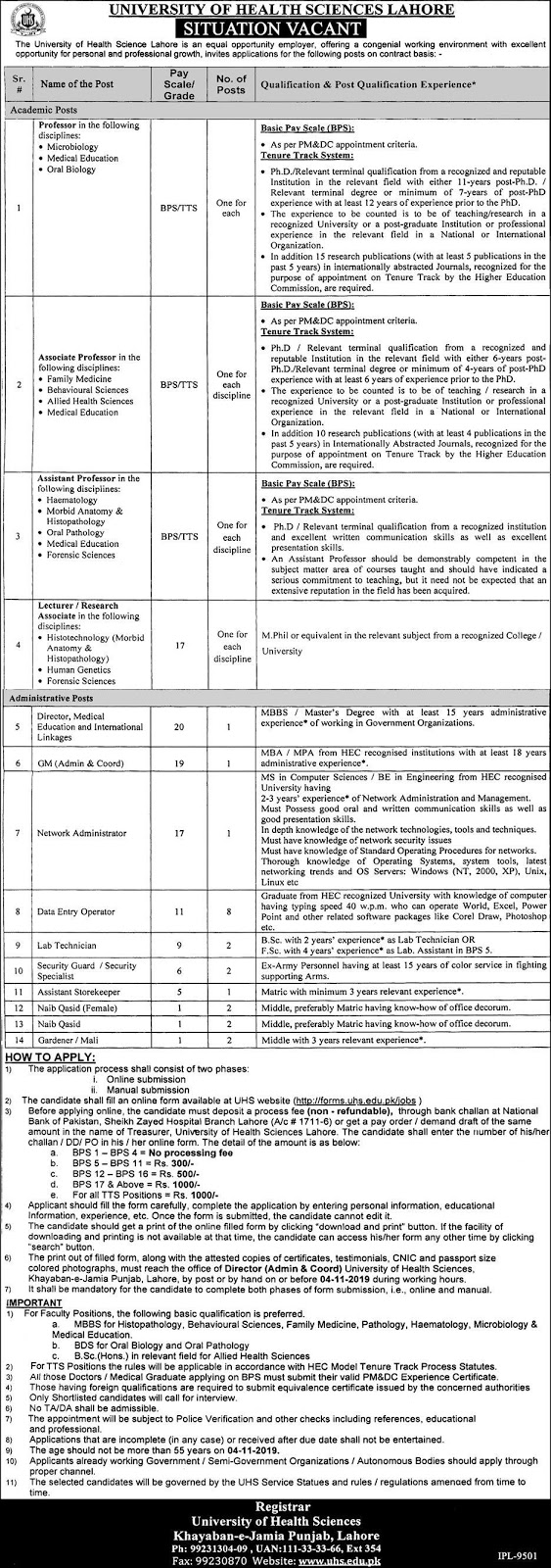 UHS Jobs October 2019 for Following Vacant