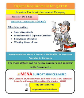 ITI and Diploma Candidates Urgent Requirement for Qatar in Semi Government Company. Project Oil & Gas