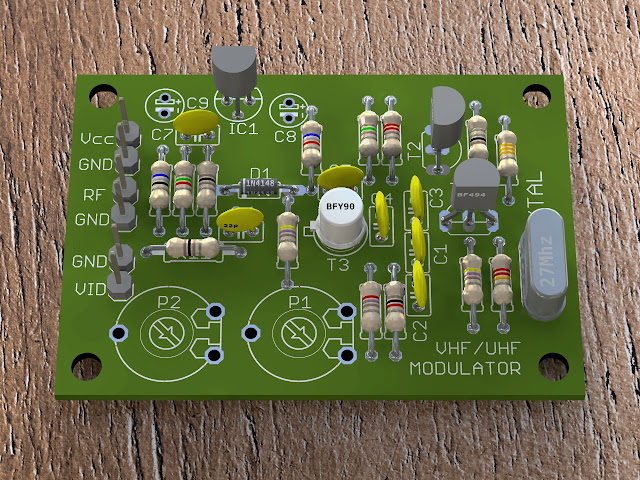 POV-Ray rendered circuit board