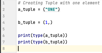 Create tuple with just one element