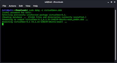 VirtualBox started installing