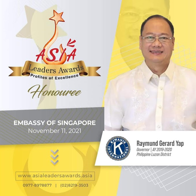 Asia Leaders Awards 2021 finalist for Philanthropist of the Year is Kiwanis' Youngest Philippine Luzon District Governor Raymund Yap