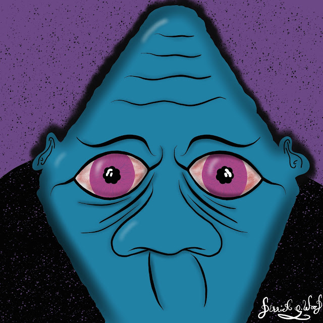 a sleepless blue face with desperate eyes cant sleep